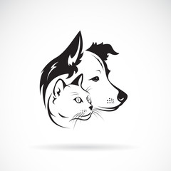 Vector of dog and cat head design on a white background. Pet. Animal. Easy editable layered vector illustration.