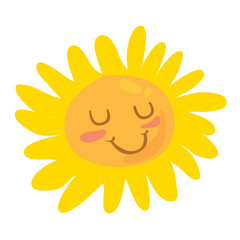 isolated cartoon-style color illustration of cute smiling happy sun. Isolated on white background