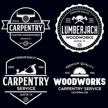 Woodwork badges. Set of carpentry, woodworkers, lumberjack, sawmill service monochrome vector labels, emblems and logos.