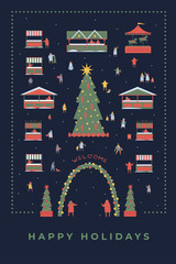 Festive illustration with the image of the Christmas fair, New Year tree and stalls in winter evening. People make holiday shopping. Happy winter holidays. Vector colorful seasonal image.