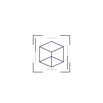 AR vector line icon with cube