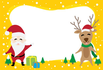 border graphic cartoon about Santa Claus and reindeer in Christmas day