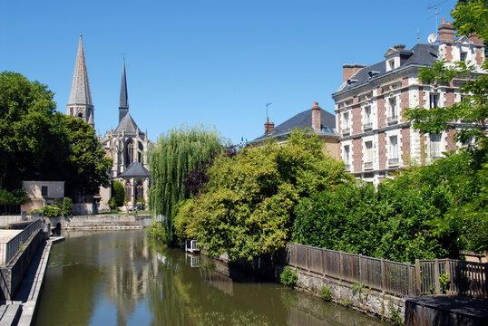 Ville de Vendôme, église, abbatiale de la trinité, département du Loir et Cher, France
