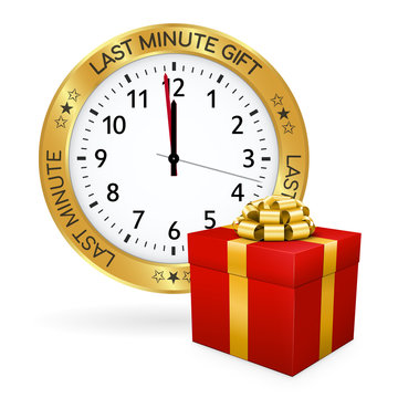 Golden Clock - Red Gift Box and Last Minute Gift Icon