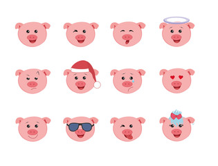 Set of Graphic Emoticons - pigs. Collection of Emoji. Smile icons