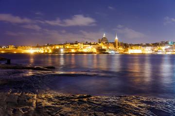 Night view of the city Valletta, capital of Malta, Europe