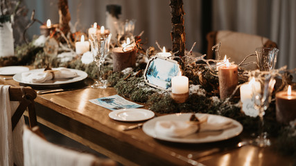 table with wedding decorations