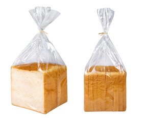 Sliced bread in plastic bag isolated on white