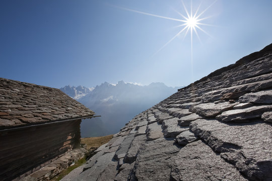 The rocky roofs of Tombal village, Bregaglia valley, Switzerland