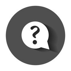 Question mark icon in flat style. Discussion speech bubble vector illustration with long shadow. Question business concept.