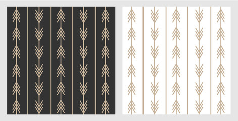 Obraz Set of trendy boho style arrow patterns in black and white for layout and background. Gold arrows on modern scandinavian style. Designed for web and prints. - fototapety do salonu