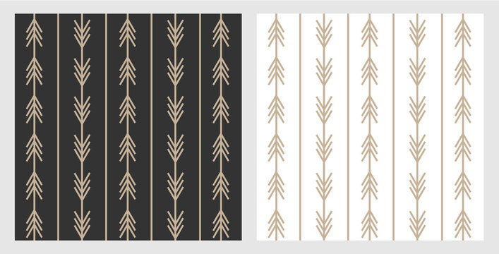 Set of trendy boho style arrow patterns in black and white for layout and background. Gold arrows on modern scandinavian style. Designed for web and prints.