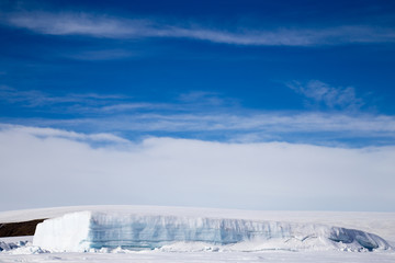 Tabular iceberg at Snow Hill Emperor Penguin Colony, October 2018.