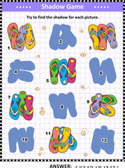 Visual puzzle or picture riddle with colorful flip-flops: Can you find the shadow for each picture? Answer included.