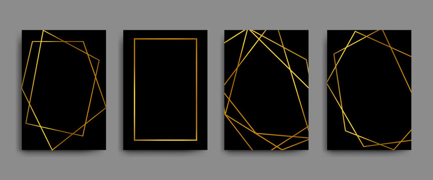 Vector elegant flyers, brochures, cards, banners with gold geometric borders on black background
