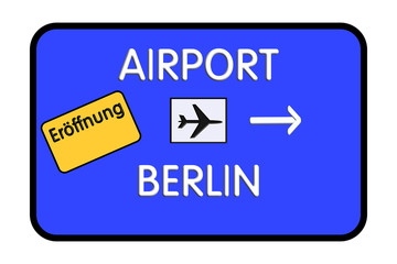 Road sign airport german highway