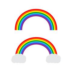 Rainbow cartoon set isolated. Stripes light arch icons vector