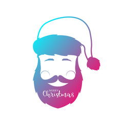 Man with beard and mustache wearing Santa Claus hat. Vector illustration.