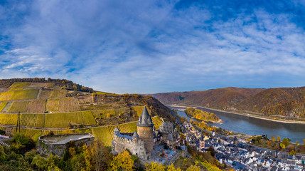 Aerial view, Stahleck Castle, Bacharach, Upper Middle Rhine Valley, Rhineland-Palatinate, Germany