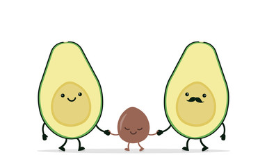 Funny avocado couple holding hands.