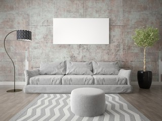 Mock up fashionable living room with super comfortable sofa and stylish hipsterphone.