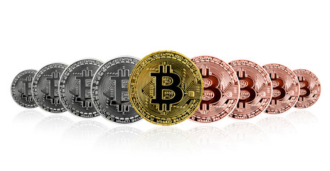 Set of Bitcoin. Physical bit coin. Digital currency.