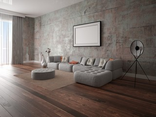 Mock up modern living room with stylish comfortable sofa and stylish hipster backdrop.