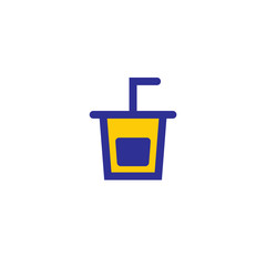 Plastic drinking glass with tube lemonade, lime, orange juice vector illustration icon symbol pictogram