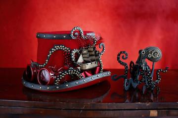 Steampunk cappello rosso e octopus