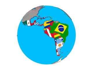 Latin America with embedded national flags on blue political 3D globe. 3D illustration isolated on white background.