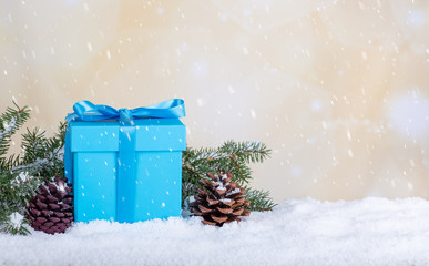 Blue Christmas Gift Box In a Winter SceneBlue Holiday