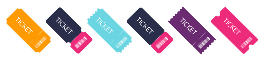 Set of colorful ticket. Blank Template Tickets