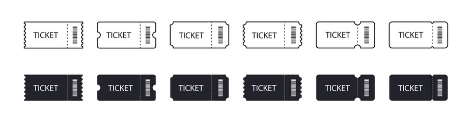 set of Ticket icons. Line and flat design