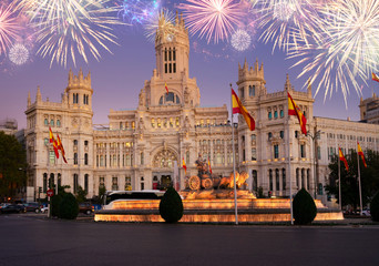 Printed roller blinds Madrid Fountain of the Cibeles and Palace of Communication, Culture and Citizenship Centre in the Cibeles Square of Madrid with fireworks