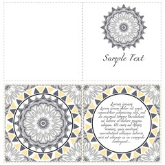Ethnic Mandala ornament. Templates with mandalas. Vector illustration for congratulation or invitation. The front and rear side.