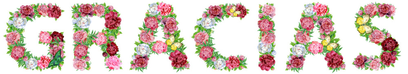 Word GRACIAS of watercolor flowers for decoration