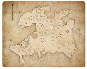 treasure medieval pirates map page isolated