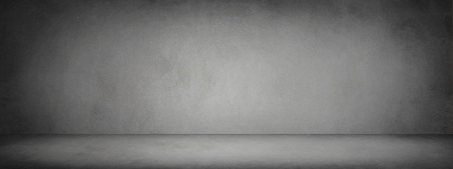 dark black and gray studio room banner and blank cement and concrete background