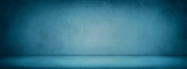 Fototapete - dark blue studio room banner and blank cement and concrete background