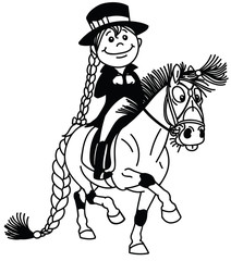 cartoon girl riding a pony horse. Funny equestrian dressage sport .Black and white outline isolated vector illustration