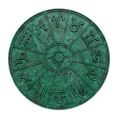 Astrological zodiac signs inside of green marble horoscope circle