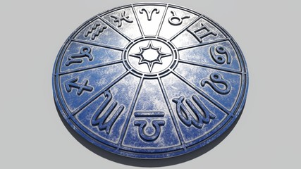 Astrological zodiac signs inside of silver horoscope circle