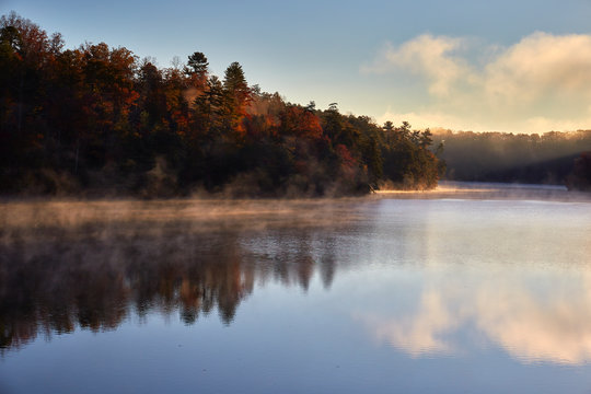 Early morning autumn scene at Philpott Lake, located in the foothills of the Blue Ridge mountains near the town of Stuart, Virginia