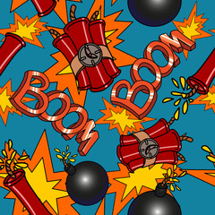 Boom seamless pattern vector