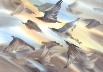 A flock of birds flying watercolor background Wall mural