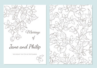 Wedding invitation card template design. Cherry blossom vector flowers on white. Vintage card. Hand-drawn contour lines and strokes.