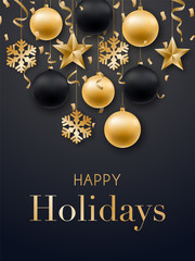 Happy New Year 2019 card design. Realistic Christmas golden balls, stars, snowflakes and confetti. Vector design template for festive brochures, posters, banners, greeting card, etc.