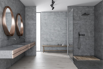 Gray bathroom, shower and sink
