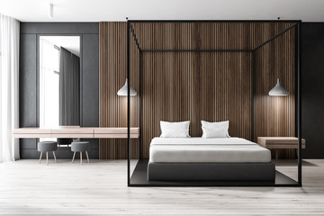 Dark wooden bedroom, white bed