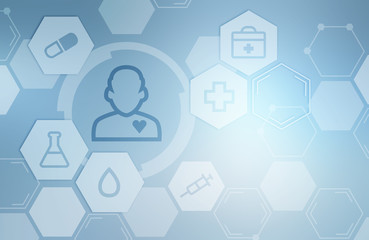 Medical icons, hexagons